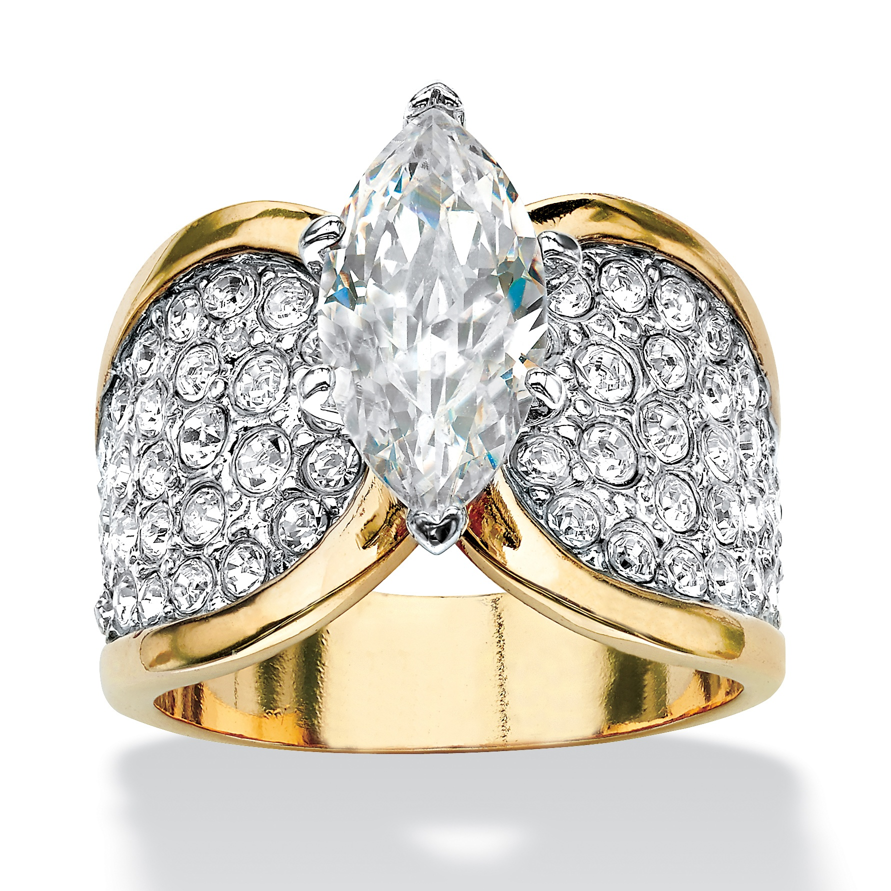 Palm Beach Jewelry 18K Yellow Gold Plated Marquise Cut Cubic Zirconia Bridal Ring Set