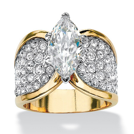2.48 TCW Marquise-Cut Cubic Zirconia and Pave Crystal 14k Yellow Gold-Plated Cocktail Ring at PalmBeach Jewelry