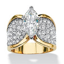 SETA JEWELRY 2.48 TCW Marquise-Cut Cubic Zirconia and Pave Crystal 14k Yellow Gold-Plated Cocktail Ring