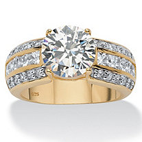 4.02 TCW Round Cubic Zirconia 18k Gold over Sterling Silver Engagement Anniversary Ring