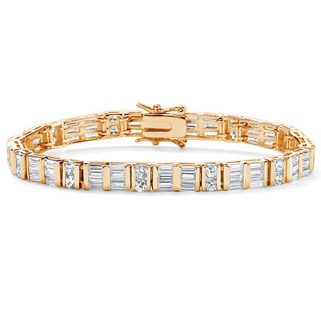 "13.32 TCW Channel-Set Round and Baguette Cubic Zirconia 14k Yellow Gold-Plated Bracelet 7.5"" at PalmBeach Jewelry"