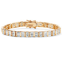 13.32 TCW Channel-Set Round and Baguette Cubic Zirconia 14k Yellow Gold-Plated Bracelet 7.5""