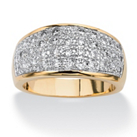 Pave Cubic Zirconia Ring In 14k Gold-Plated