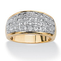 1.25 TCW Pave Cubic Zirconia Ring in 14k Gold-Plated