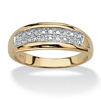 SETA JEWELRY Men's 1/8 TCW Pave Diamond Wedding Band in 18k Gold over Sterling Silver