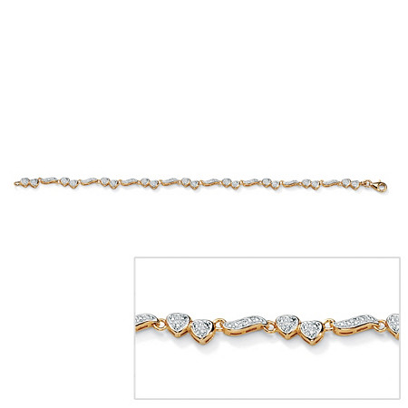 1/8 TCW Diamond Heart and Wings Ankle Bracelet in 18k Gold over Sterling Silver at PalmBeach Jewelry