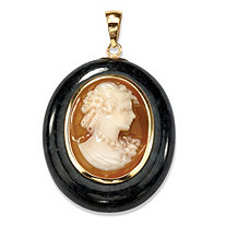 Oval-Shaped Genuine Onyx and Shell Cameo Drop Pendant 10k Yellow Gold