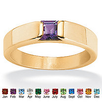 Princess-Cut Birthstone 18k Gold over Sterling Silver Channel-Set Ring
