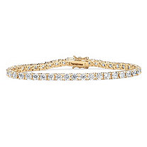 10.75 TCW Round Cubic Zirconia 18k Gold over Sterling Silver Tennis Bracelet