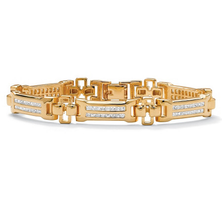 "Men's 3.52 TCW Channel-Set Cubic Zirconia 18k Gold-Plated Bar-Link Bracelet 8"" at PalmBeach Jewelry"