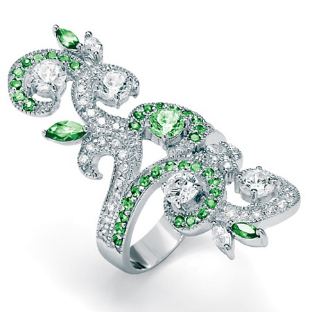 2.66 TCW Marquise-Cut and Round Green and White Cubic Zirconia Sterling Silver Elongated Swirl Ring at PalmBeach Jewelry