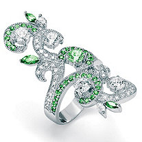 2.66 TCW Marquise-Cut and Round Green and White Cubic Zirconia Sterling Silver Elongated Swirl Ring