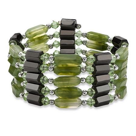 Hexagon-Shape Magnetic Hematite Multi-Shape Green Lucite Silvertone Beaded Necklace/Bracelet 36