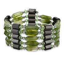 Hexagon-Shape Magnetic Hematite Multi-Shape Green Lucite Silvertone Beaded Necklace/Bracelet 36""