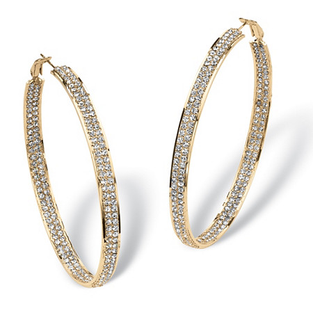 Crystal Inside-Out Hoop Earrings in Yellow Gold Tone at PalmBeach Jewelry