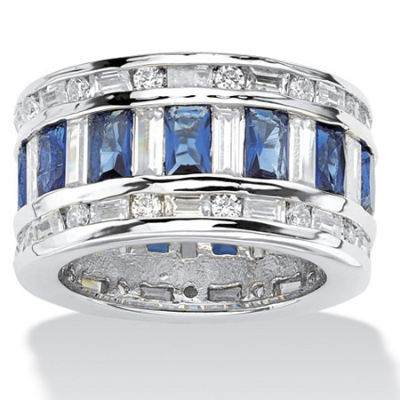 Baguette-Cut Cubic Zirconia and Simulated Blue Sapphire Eternity Band Ring 10.44 TCW in Silvertone at PalmBeach Jewelry