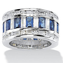 Baguette-Cut Cubic Zirconia and Simulated Blue Sapphire Eternity Band Ring 10.44 TCW in Silvertone