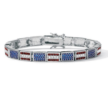 "Red White and Blue Crystal and Enamel Silvertone Patriotic American Flag Link Bracelet 7.25"" at PalmBeach Jewelry"