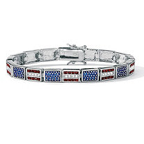 Red White and Blue Crystal and Enamel Silvertone Patriotic American Flag Link Bracelet 7.25""
