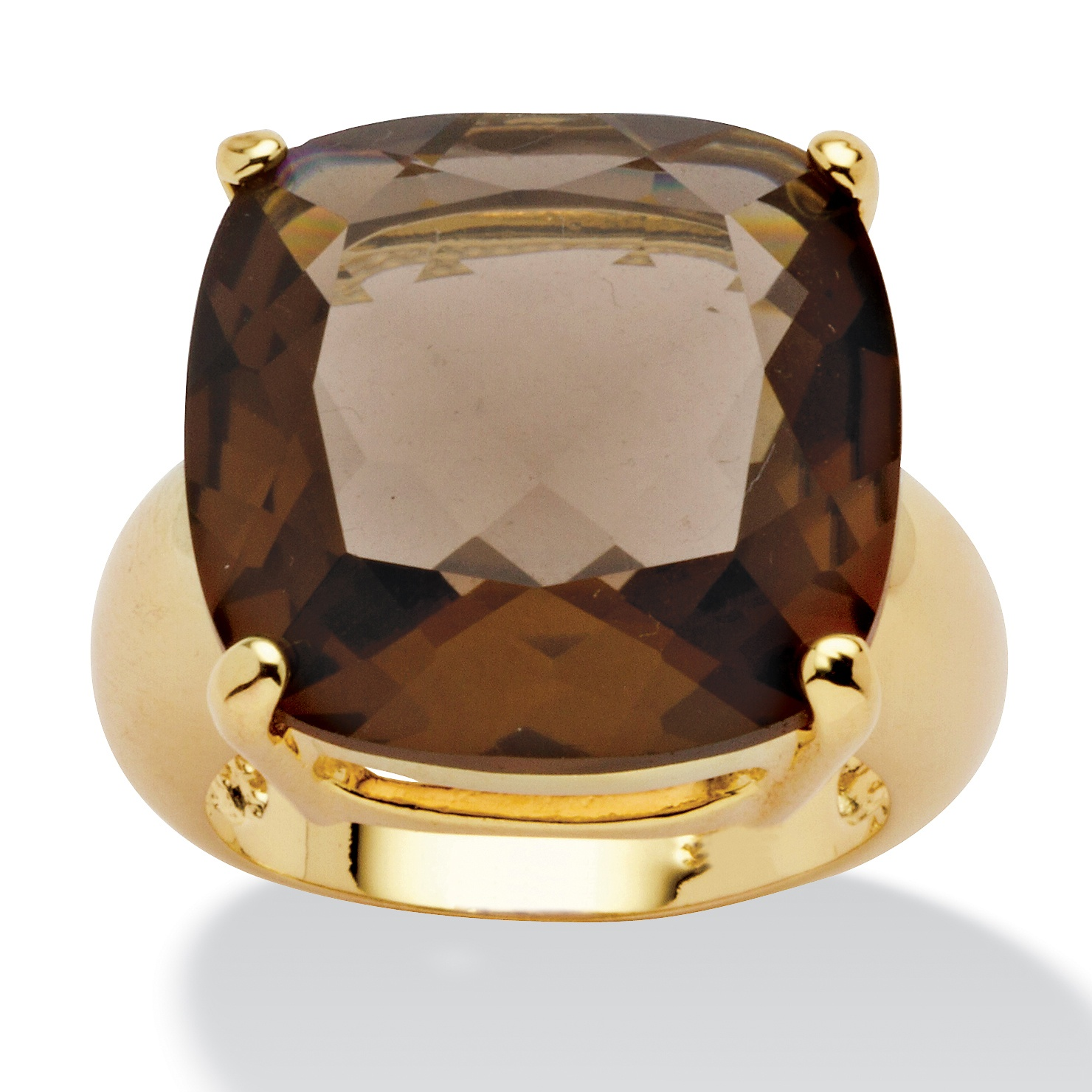 28 TCW Cushion Princess-Cut Genuine Smoky Quartz 14k