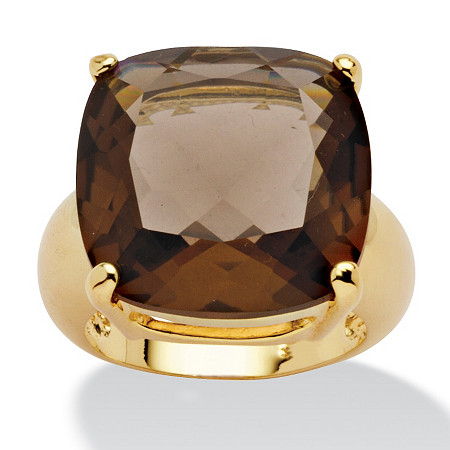 28 TCW Cushion Princess-Cut Genuine Smoky Quartz 14k Yellow Gold-Plated Multi-Faceted Ring at PalmBeach Jewelry