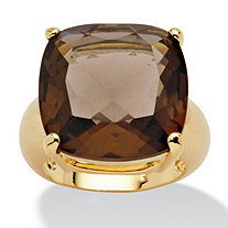SETA JEWELRY 28 TCW Cushion Princess-Cut Genuine Smoky Quartz 14k Yellow Gold-Plated Multi-Faceted Ring