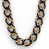 """Yellow Gold Tone Black Rhodium-Plated Curb-Link Necklace 34"""""""