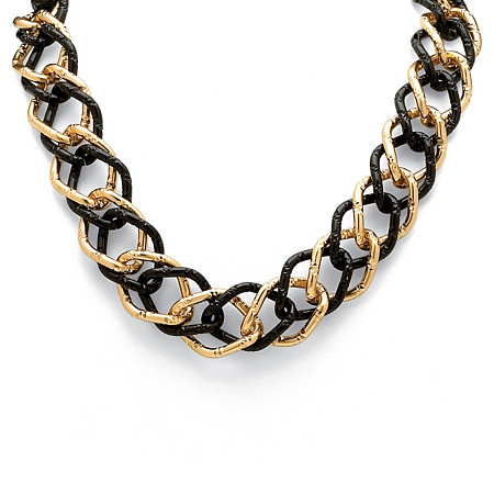 Yellow Gold Tone Black-Ruthenium-Plated Curb-Link Necklace 19