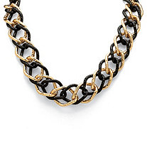 Yellow Gold Tone Black-Ruthenium-Plated Curb-Link Necklace 19""