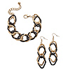 Related Item Double Curb-Link Bracelet and Drop Earrings Set in Gold Tone and Black Ruthenium-Plated