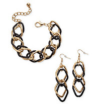 SETA JEWELRY Double Curb-Link Bracelet and Drop Earrings Set in Gold Tone and Black Ruthenium-Plated