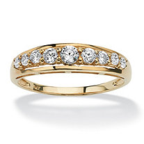 SETA JEWELRY .93 TCW Round Cubic Zirconia Ring in Solid 10k Gold