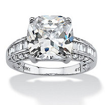 3.28 TCW Cushion-Cut Cubic Zirconia Solid 10k White Gold Engagement Anniversary Ring