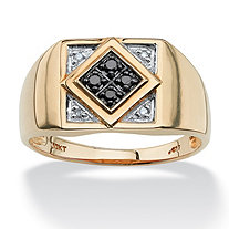 Men's Round Black and White Diamond Geometric Ring 1/10 TCW in Solid 10k Yellow Gold