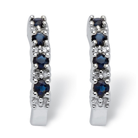 3/8 TCW Round Genuine Blue Sapphire and Diamond Accent 10k White Gold Semi-Hoop Earrings (1/2