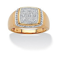 Men's Round Diamond Accent Two-Tone Pave-Style Ring in 18k Gold over Sterling Silver