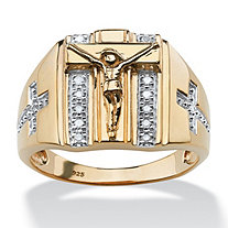 SETA JEWELRY Men's 1/10 TCW Round Diamond Crucifix and Cross Ring in 18k Gold over Sterling Silver