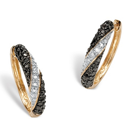 "Black and White Diamond Accent 18k Gold over Sterling Silver Hoop Earrings (2/3"") at PalmBeach Jewelry"