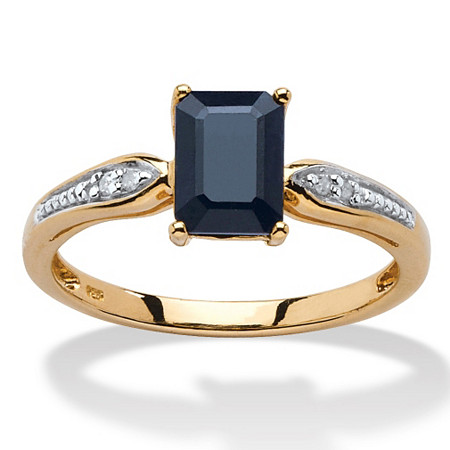1.15 TCW Emerald-Cut Genuine Midnight Blue Sapphire 18k Gold over Sterling Silver Ring at PalmBeach Jewelry