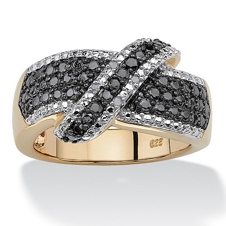 1/10 TCW Round Black and White Diamond 18k Gold over Sterling Silver Crossover Ring at PalmBeach Jewelry