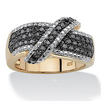 1/10 TCW Round Black and White Diamond 18k Gold over Sterling Silver Crossover Ring