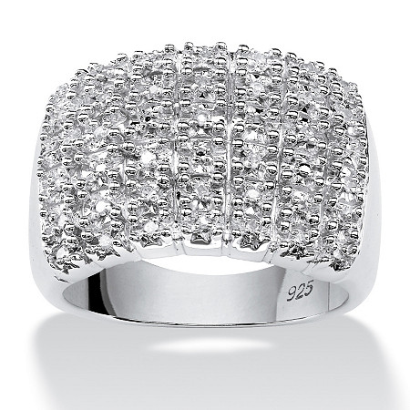 1/5 TCW Round Diamond Row Ring in Platinum over Sterling Silver at PalmBeach Jewelry
