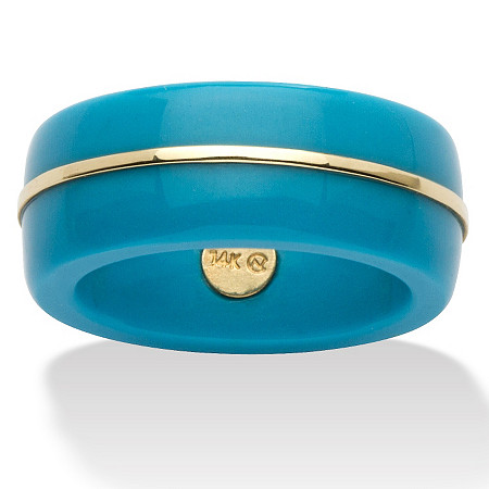 Round Viennese Turquoise 14k Yellow Gold Ring Band at PalmBeach Jewelry