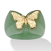 SETA JEWELRY Genuine Green Jade 14k Yellow Gold Butterfly Ring