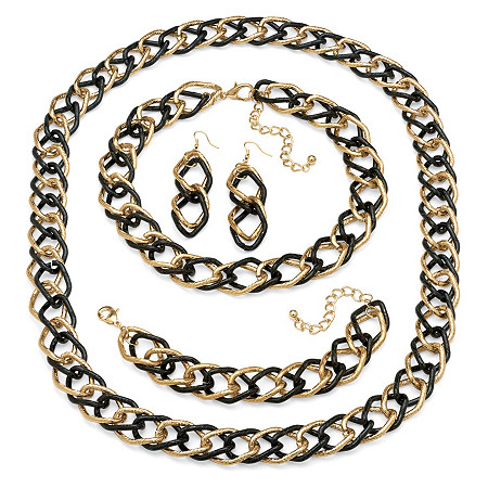 Double Curb-Link 3-Piece Set in Yellow Gold Tone and Black Rhodium-Plated with BONUS FREE Necklace at PalmBeach Jewelry