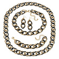 Double Curb-Link 3-Piece Set in Yellow Gold Tone and Black Rhodium-Plated with BONUS FREE Necklace