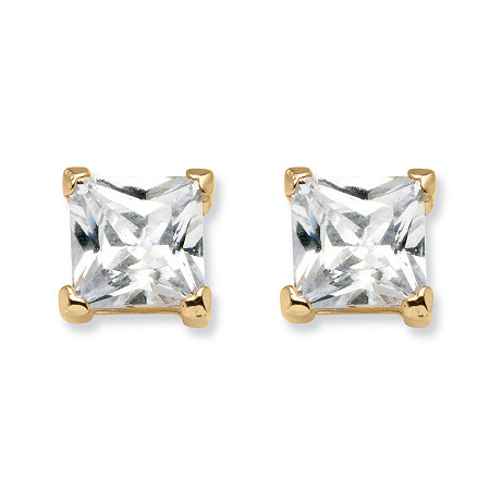 4.24 TCW Princess-Cut Cubic Zirconia Stud Earrings in 18k Gold over Sterling Silver at PalmBeach Jewelry