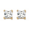 Related Item 4.24 TCW Princess-Cut Cubic Zirconia Stud Earrings in 18k Gold over Sterling Silver