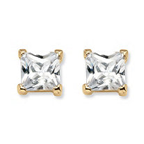 4.24 TCW Princess-Cut Cubic Zirconia Stud Earrings in 18k Gold over Sterling Silver