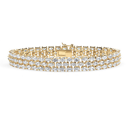 "28.60 TCW Oval-Cut Cubic Zirconia 18k Gold-Plated Triple-Row Tennis Bracelet 8.5"" at PalmBeach Jewelry"
